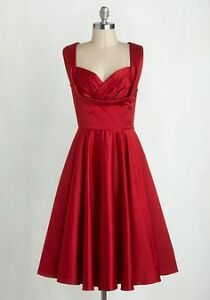 Beautiful Red satin dress with pockets
