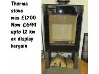 Contemporary Eeuropean wood burning stove 12kw ultra modern design top reduced to £699