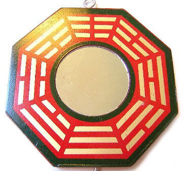 "5"" Red Feng Shui Traditional Yin Yang BaGua with Real Mirror"