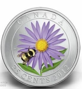 Canada 2012 25cents BUMBLE BEE and Aster