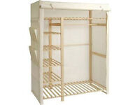 Two canvas wardobes, one shelving unit. £15 for the lot or open to other offers.