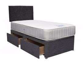 "100% CHEAPEST PRICE!!! BRAND NEW!! SINGLE DIVAN BED BASE AND 9"" DEEP QUILT SEMI ORTHOPEDIC MATTRESS"