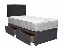 🔥BASE £29🔥WOW AMAZING OFFER Single Divan Bed w 9INCH DUAL-SIDED DEEP QUILT SEMI ORTHO Mattress £69