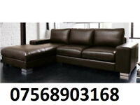 SOFA BOXING DAY ITALIAN NERO LEATHER CORNER SOFA BLACK OR BROWN BRAND NEW 36872