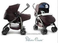 Silver cross 3D vogue pram/buggy frosted chocolate