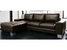 ITALIAN NERO LEATHER CORNER SOFA BLACK OR BROWN