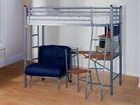 High sleeper cabin bed and desk