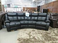 Black Curved Daytona Manual Recliner Sofa With Shaped Storage Pouffe