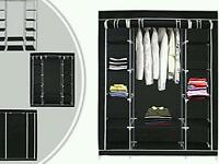 3 Door Black Fabric Wardrobe - Brand New