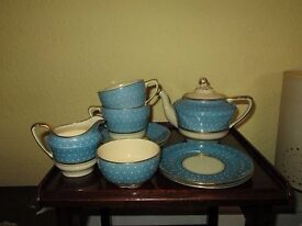 Charming, rare complete morning set of Sunbuff, Gray's Pottery china in good condition