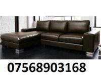 sofa ITALIAN NERO LEATHER CORNER SOFA BLACK OR BROWN BRAND NEW 54478