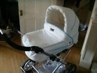 Baby style white leather pram
