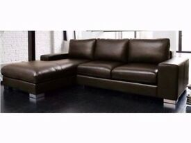 50% LAST FEW LEFT SALE ITALIAN NERO LEATHER CORNER SOFA BLACK OR BROWN