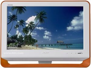 "sony bravia 19"" tv white with orange accent/remote"