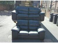 3+2 black leather sofa in excellent condition! £349 delivered