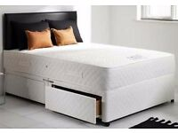 """❤Superb Black White or Cream Finish❤ 4FT6, 4FT Divan Bed w 10"""" Dual-Sided Fully Orthopaedic Mattress"""