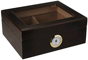 Quality Importers HUM-25HYG Glass Desktop Humidor, Brown