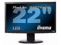 Used Black IIyama ProLite 22inch Widescreen LCD Monitor   Tilt & Height Adjustable Good Condition