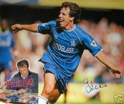 "GIANFRANCO ZOLA SIGNED 16""x20"" CHELSEA PHOTOGRAPH SEE PROOF"