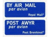 Royal Mail International Mail Airmail Stickers A Sheet of 36 Airmail Stickers