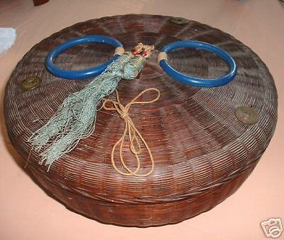 SEWING BASKET, VICTORIAN, WICKER, CHINESSE 1900