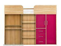 Kidspace Ohio Mid-Sleeper Bed With Desk, Drawers, Wardrobe in Oak/Pink