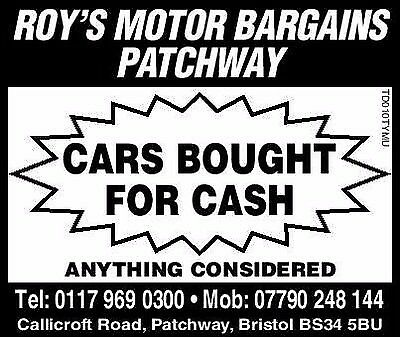 CARS BOUGHT FOR CASH TODAY £100 - £2000