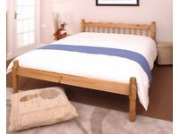 Traditional Solid Pine 4ft6 Double Bed Frame with a quality mattress. Free delivery