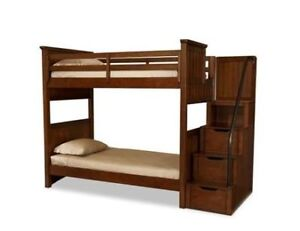 bunk bed with stairs with no mattress