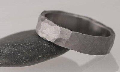 Custom Sized Titanium Ring (Hammered Titanium Ring 4mm Size 4 Wedding Band one-of-a-kind Czechia custom)