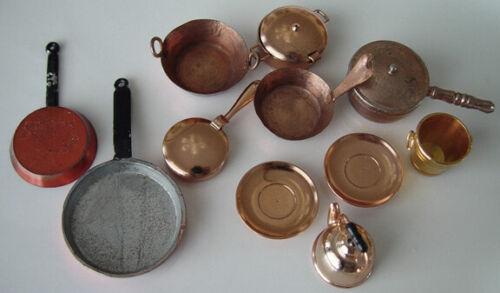 Miniature Vintage Dollhouse Lot of Misc. Copper Pans Cookware