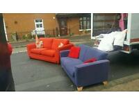 Beautiful 3+2 seater sofa in red and blue fabric from dfs