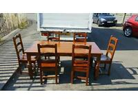 Solid walnut wood dinning room table and chairs £145 delivered