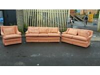 3,1,1 seater sofa in salmon fabric £150 mint condition