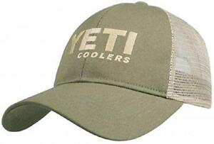 Authentic Yeti Coolers Traditional Logo Trucker Hat Cap Olive   Tan Mesh d282d77b9e8