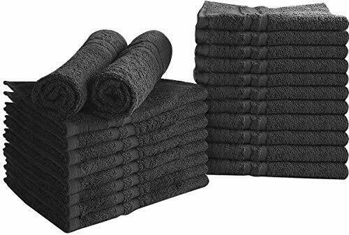 Cotton Bleach Proof Salon Towels 24-Pack Black, 16x27in Blea