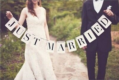 JUST MARRIED Vintage Wedding Signs Banner Party Decorations Garland Photo Props