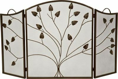 - Bronze 3 Fold Arched Panel Screen with Leaf Design - 31 inch