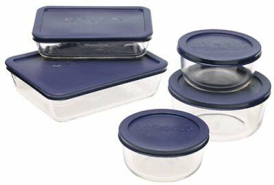 Pyrex Simply Store 10-Piece Glass Food Storage Set with Blue (Pyrex 10 Piece Storage Set With Lid)
