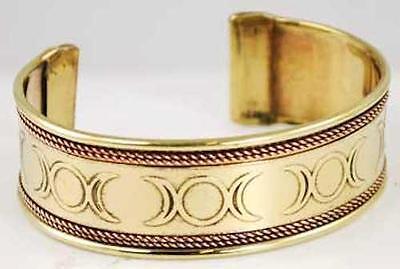Triple Moon Engraved Copper & Brass Bracelet!