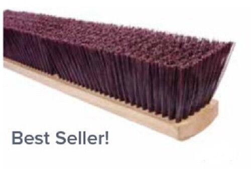 "Magnolia Brush #2236 36"" Coarse Brown Polystyrene Garage Brush Push Broom Head"