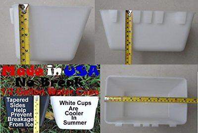 Cage Cups 6pk White 1/2 Gallon Large Hanging Water Cage Cups Pheasant Chicken