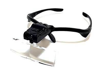 kc02  8-point set of magnifying glasses 2LED eyeglass-type Loupe Magnifier