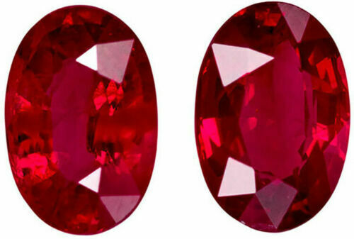 2.05cts Certified Top Luster Natural Normal Heat Red Ruby Pair Loose Gemstone