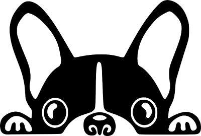 Boston Terrier Peeking Dog Vinyl Sticker Decal Car Truck Wall (Terrier Dog Vinyl Decal Sticker)