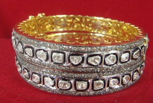 Bridal 7.80cts Rose cut & Polki Diamond Bangle Pair, Free Shipping