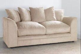 new jumbo cord sofa set 3 & 2 in mink beige only for £269 new dylan range crushed velvet furniture