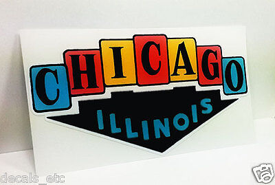 Chicago Illinois Vintage Style Travel Decal / Vinyl Sticker, Retro Luggage Label