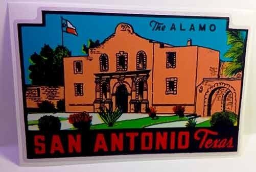 San Antonio Texas Vintage Style Travel Decal / Vinyl Sticker, Luggage Label