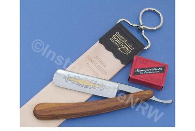 Set Rasiermesser Holzgriff mit Goldätzung Abziehleder und Paste aus Solingen ()